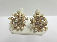 Miriam Haskell dress clips pr pearls/white stones in gold plate signed 1 1/2 in