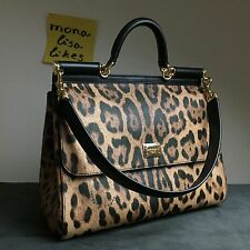 New DOLCE GABBANA Miss Sicily LARGE Leopard Animal Print Bag Handbag Purse Tote