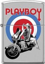 Zippo Playboy Bullseye Woman on Motorcycle Satin Chrome Windproof Lighter RARE