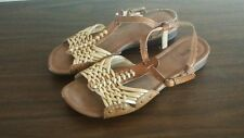 "BASS ""IRIS"" Women's Gold Brown Leather Ankle Strap Sandals Size 9.5 M"