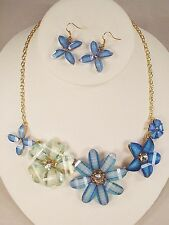 Blue Crystal Flower Acrylic Necklace Set