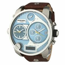 DIEZEL DZ7322 MR DADDY Oversized Brown Leather Strap Blue Chronograph Men Watch