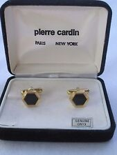 Pierre Cardin Cufflinks, Hexagon Shape, Gold-Tone w/ Onyx Stones, NOS