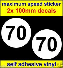 2x maximum speed sticker limited to 70 decals car bus van lorry 100mm each