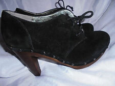 BANANA  REPUBLIC WOMEN'S BLACK SUEDE LACE UP CLOG STYLE BOOT SIZE UK 5.5 EU 38.5
