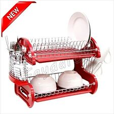 Storage Dish Rack Holder Kitchen Plastic Chrome Drying Sink Cup Drainer Plate