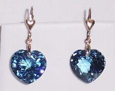 34 cts Heart CKB Swiss Blue Topaz gemstones, 14kt yellow gold leverback Earrings