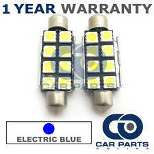 2X BLUE CANBUS NUMBER PLATE INTERIOR 8 SUPER BRIGHT SMD LED BULBS 44MM 15BX2