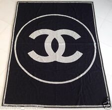 CHANEL TOP BLACK WHITE CC CASHMERE XL BLANKET THROW SCARF NEW IN BOX AND BAG