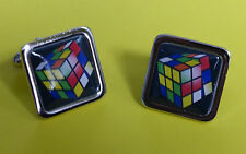 Unique! RUBIK'S CUBE CUFFLINKS chrome RUBIX 80's RETRO designer PUZZLE christmas