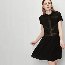MAJE RADA Dress With Pleated Front Panel Black Size S Orig. $325 NWT