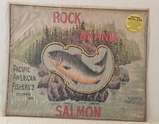 Vintage Retro Metal Tin Sign ROCK BRAND SALMON PACIFIC AMERICAN FISHERIES