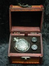 A E Williams pewter wind-up skeleton watch cuff links chain and box