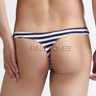 Cheap Sexy Men Sheer Cheeky Stripe Underwear Low Rise Briefs Soft Bikini Thong S