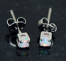 Pair Of 3mm Prong Set White Fire Opal 316L Surgical Steel Earrings Ear Studs 20G