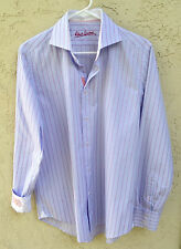"~ROBERT GRAHAM MENS sz 39 15.5 M ""EMBROIDERED FLIP CUFF STRIPED SHIRT~ 45"" CHEST"
