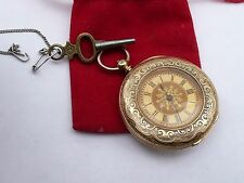 ANTIQUE 36MM 18K SOLID GOLD MEGA RARE ALFRED GOAD HALF HUNTER POCKET WATCH FWO