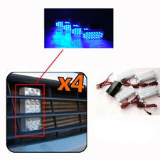 4 x Blue Strobe Flashing Waterproof Caution Lights For Front Hood Grill For BMW