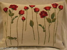 "14""x19"" ROSES on Stem Flower Flora French Woven Cotton Tapestry Cushion 40x50cm"