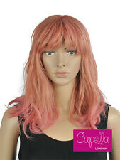Pastel Peach Pink Rose Gold Ombre Shoulder Length Wavy  Wig Hair With Fringe