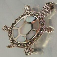 925 STERLING SILVER MARCASITE CZ SHELL TURTLE BROOCH oxidised 20mm x 33mm, 6.5g