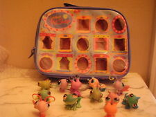 LITTLEST PET SHOP Blue Carrying Case See Thru Windows Holds 15 Pets includes 12