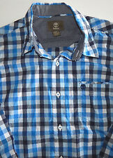 Timberland Men's Shades of Blue Checked Long Sleeve Casual Shirt  Size Small