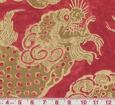 PK Lifestyles Dunmore Dragons Cinnabar Red Print Drapery Fabric BTY