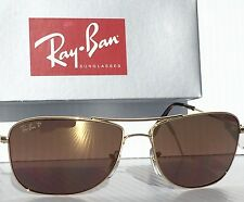 NEW* Ray Ban AVIATOR GOLD w POLARIZED Rose Bronze Len Sunglass RB 3543 001/6B