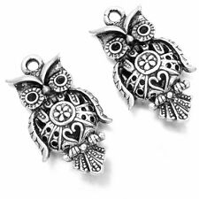 15pcs Antique Silver Alloy Carved Heart Flowers Owl Animal Charms Pendant Lots J