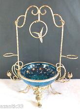ancien panier bouquetière bronze verre émaillé oiseau balançoire signé Allain