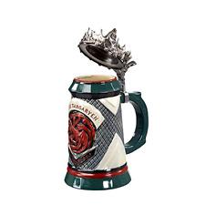 Game of Thrones House Targaryen Stein Ceramic Base w/ Pewter Baratheon Crown Top