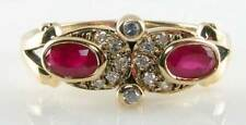 SUBLIME 9K GOLD DECO INSP RUBY & DIAMOND SUN-MOON RING