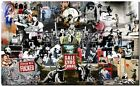 "BANKSY STREET ART CANVAS PRINT Collage montage 8""X 12"" stencil poster #1"