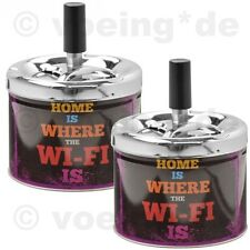 "2x Drehaschenbecher Dreh-Aschenbecher Drehfunktion ""Home is where the WI-FI is"""