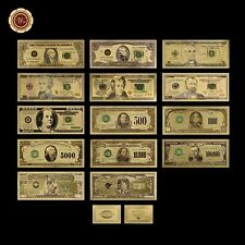 14Pcs Full Colored Us Dollar Collection Set $1-$1 Billion 24k 999 Gold Banknotes