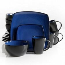 Dinnerware Kitchen 16-Piece Dining Set-Plates, Cups, Bowls-Square Blue and Black