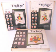 Vintage Sealed 3 DUPLIQUE APPLIQUE Collage Retro Craft Kits Fruit Flowers FUN!