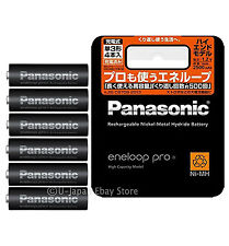 6 Panasonic Eneloop Pro Rechargeable Batteries AA High End Batteries 2500 mAh