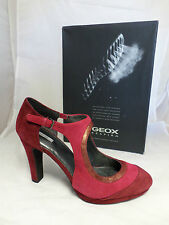 Geox D Marieclaire Cut Out Court Shoes Mid Heel Uk 7 Scarlet EM14 70