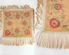 Vtg 1920s Peach Silk Hand Painted Pansy Floral Fringe Flapper Piano Shawl