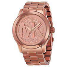 Michael Kors Runway MK5661 Rose Gold Stainless Pave Crystal Womens Watch