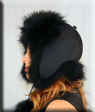 New Black Trooper Hat Black Finnish Raccoon Fur Trim - One Size Fits All