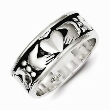 ANTIQUED STERLING SILVER MEN'S CLADDAGH/CELTIC DESIGN RING - SIZE 9 - 9.8 GRAMS