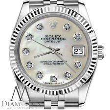 Ladies Rolex 26mm 18K Gold & SS Datejust White MOP Mother Of Pearl Diamond Watch