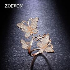Fashion Women Lady Gold Plated Crystal Hollow Butterfly Ring Charms Jewelry