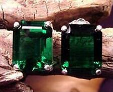 Mt St Helens Helenite Emerald-cut 10x8 earrings post US Handmade Sterling Silver