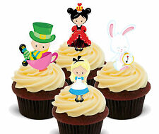 Alice in Wonderland Edible Cup Cake Toppers, Standup Birthday Decorations Fairy