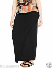 M&S Black Jersey Style Pull on Maxi Skirt Size 28 Plus Size BNWT