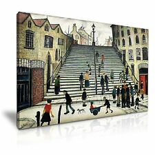L.S. Lowry Steps at Wick Modern Canvas Wall Art Print 76x50cm
